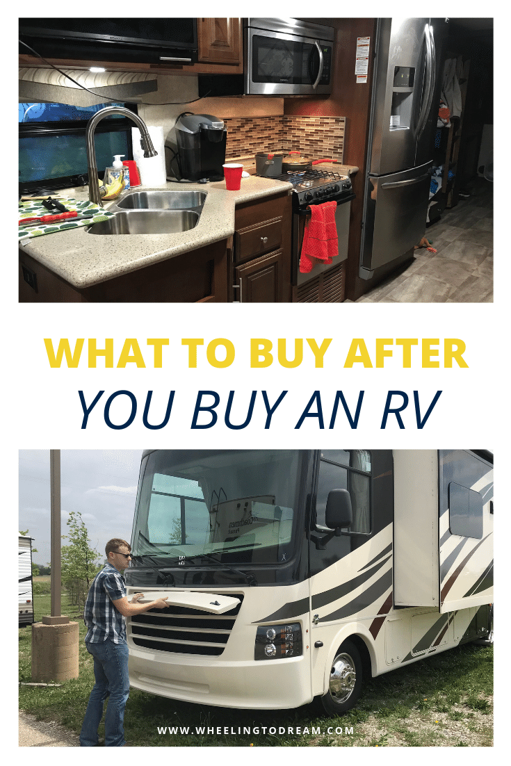 You've just bought your RV... now what? Now you need these RV essentials. Don't take your RV out without these RV must haves! These are our favorite RV necessities and a few of our wishlist items that we picked up as well. #rvlifestyle #rvfulltime #rving #fulltimeRV #rving #fulltimerliving #rvwithkids