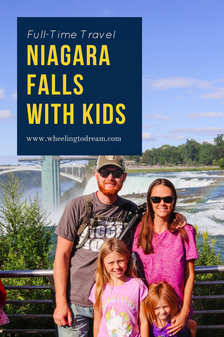 Visiting Niagara Falls with kids is a lot of fun. If you're planning a Niagara Falls vacation you should check out our video on our time there so you can do some travel planning. If you are going to Niagara Falls, New York then you should pre-plan and make sure you can get out of the platform for a better view. Plan a little so you have things to do at Niagara Falls! THis is one of our favorite places on our full-time RV travel journey. #niagarafalls #buffalony #fulltimervfamily #fulltimetravel #fulltimervliving
